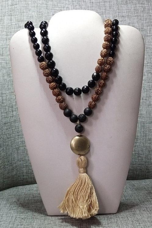 Mala Rudhaksa Black Obsidian Crystal Necklace