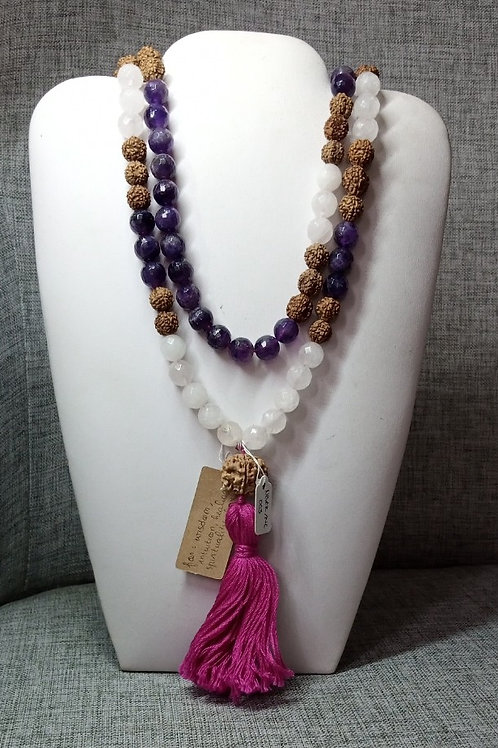 Mala Rudhaksa Aethyst & Rose Quartz Crystal Necklace