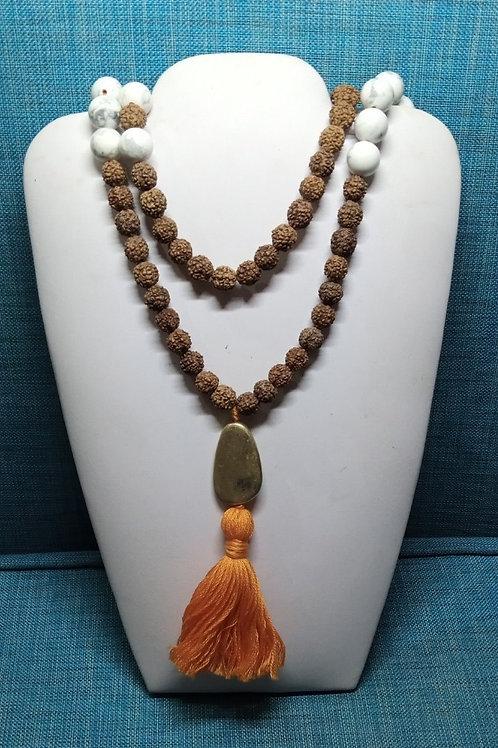 Mala Rudhaksa & Howlite Necklace