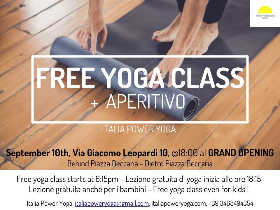 September 10th at 18:15 we will be offering three free yoga classes - Power Yoga Shala 1, Hatha shala 2, Kids Yoga shall 3- Aperitivo ore 19:30 + Art opening