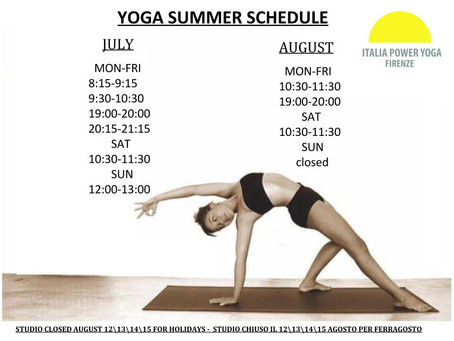 Summer Schedule 2017 starting from July 1st- September 1st