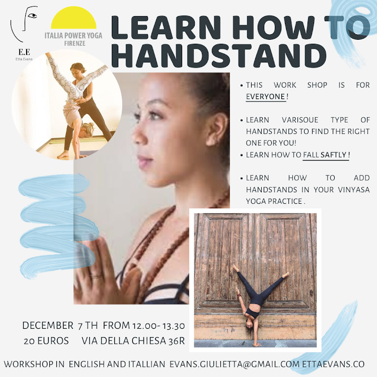 Learn how to handstand workshop  dec. 7th from 12 to 13.30  with Giulietta Evans,  20 euros register online! ettaevans.co for more info!