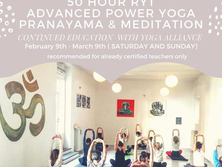 RYT 50 Hours Training Mastering Advanced Power Yoga, Pranayama & Meditation 2019 February 9th -