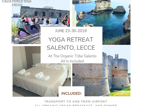 Yoga Retreat, Salento Lecce June 23rd-30th 750 euro discount ends may 1st.
