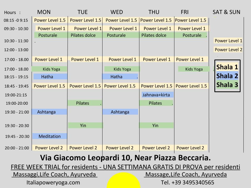 Schedule for Beccaria studio starting september 11th - Orai per lo studio Beccaria iniziamo 11 septembre