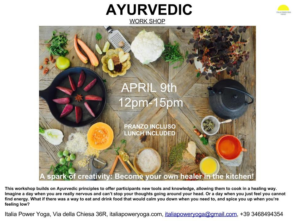 A spark of creativity: Become your own healer in the kitchen!  This workshop builds on Ayurvedic principles to offer participants new tools and knowledge, allowing them to cook in a healing way.  Imagine a day when you are really nervous and can't stop your thoughts going around your head. Or a day when you just feel you cannot find energy. What if there was a way to eat and drink food that would calm you down when you need to, and spice you up when you're feeling low?  During the workshop, we will work with easy to implement principles and home remedies to improve your day-to-day.  We will rely on easily available spices - ginger, cinnamon, cardamom and more - and combinations of food that you are already familiar with - tweaking them to give you, new inspiration in the kitchen, a happier stomach and a broader smile.  What you will learn:  How to make ghee, the ultimate Ayurvedic oil. How to make chapatti, Indian flat bread. How to make a fully balanced vegetarian Ayurvedic meal.