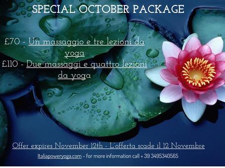Pacchetto benessere arrivata !! £70 - Un massaggio e tre lezioni di yoga £110 - Due massaggi e qua