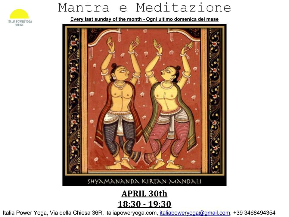 MANTRA E MEDITAZIONE THIS SUNDAY , 30\04, FROM 18:30-19:30