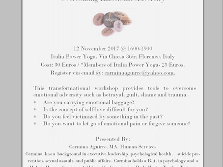 WORKSHOP Novembre 12 Wounds to Wisdom A transformational workshop on Overcoming Emotional Adversity