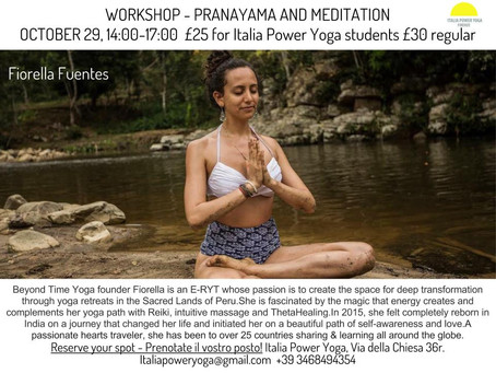 Pranayama & Meditation Workshop October 29 from 14:00-17:00 25euro for italia power yoga student
