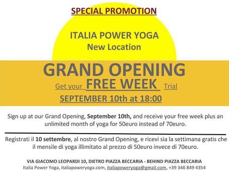 Grand opening for Italia Power Yoga's second location !! Spetember 10th ore 18:00, Via Giacomo L