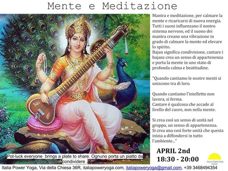 Mente, Mantra e Meditazione-April 2nd 18:30-19:30 + Pot-luck everyone bring a plate to share / ognun