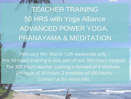 50 hours Advanced Power Yoga, Meditation & Pranayama Teacher Training ( continued education with