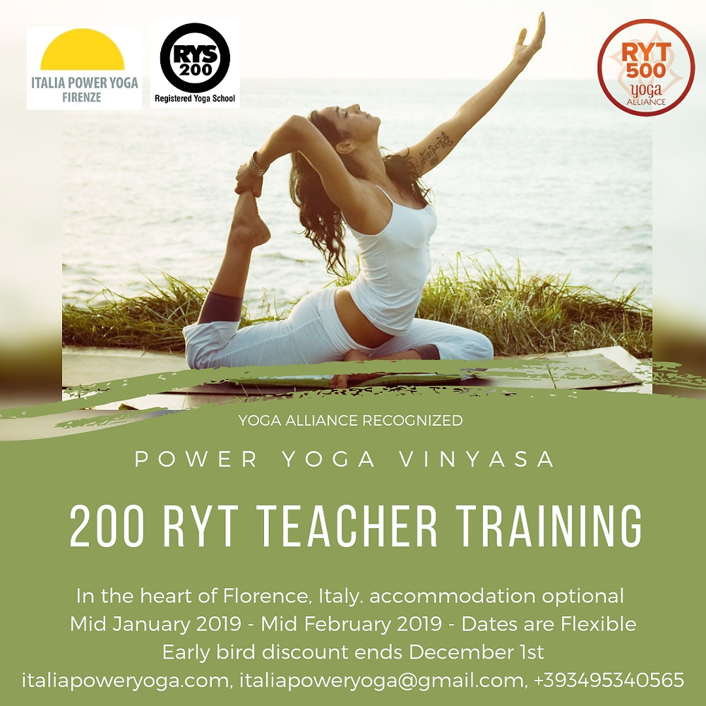 Become a Teacher with us and Teach at one of our two Yoga studios in Florence Italy. Our Teacher Trainings are in English. We will be raining in the heart of Florence, Italy. Accommodation may be arranged ( limited space ) Early Bird discount ends December 1st. Email us for questions and further info