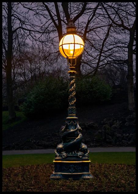 Dolphin Lamp at Dusk