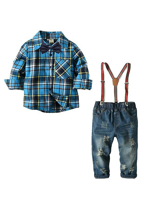 Plaid shirt bow tie distressed denim suspenders