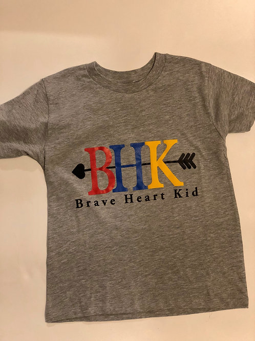 Brave Heart Kid Youth Grey T shirt
