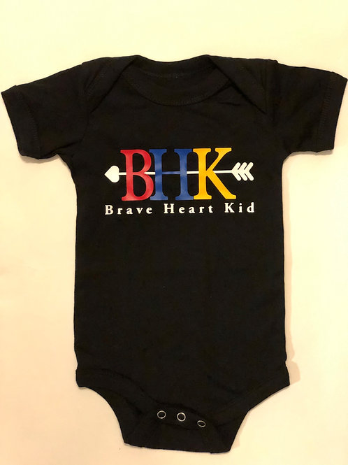 Brave Heart Kid Black infant Onesie