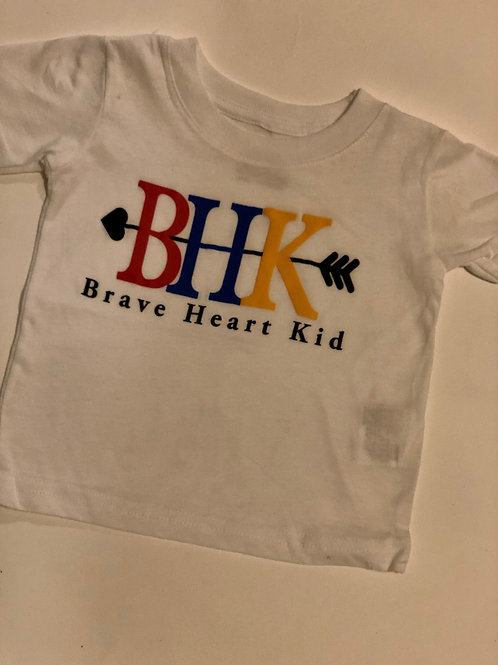 Brave Heart Kid Youth White T-Shirt