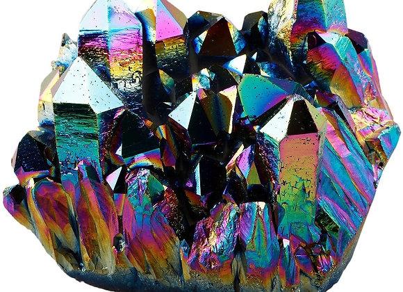 Titanium Aura Quartz Clusters