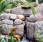 A tropical faux rock waterfall with mermaid.