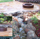 A babbling brook with a gas fire pit for those cool evenings.