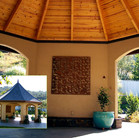 A grand gazebo with curved roof, composite slate shingles and copper filial.