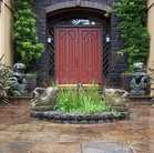 Balinese fish, Chinese fu dogs, English Tudor entry….. Marin eclectic.