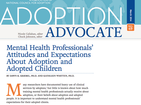 Mental Health Professionals' Attitude and Expectations About Adoption and Adopted Children