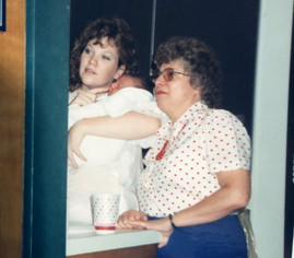 My baby was the first biological relative I ever laid eyes on. Mom & I are looking in a mirror at the resemblances.