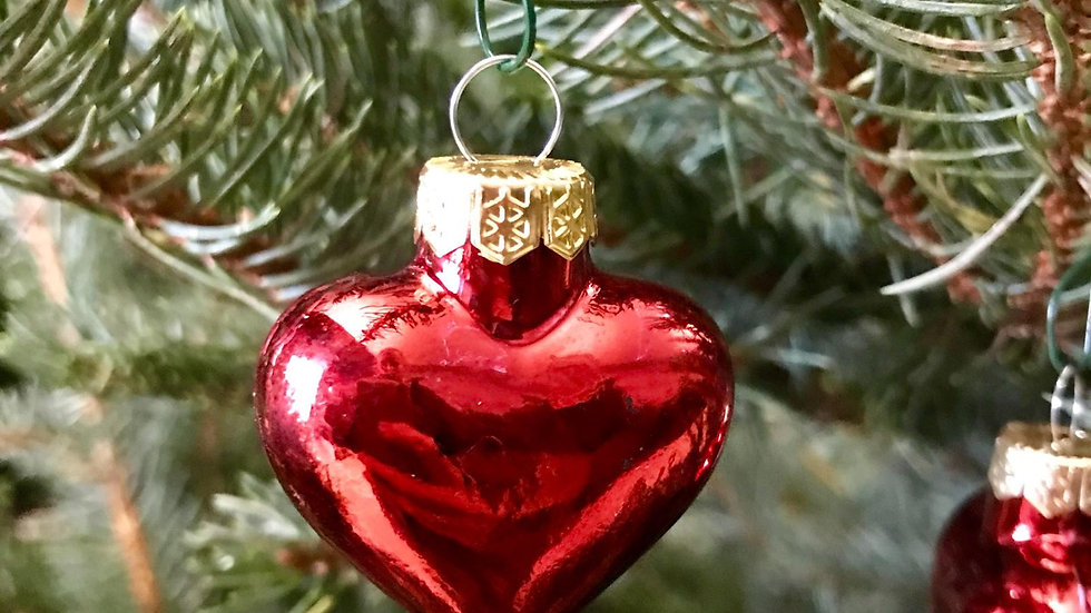 Red Heart Shaped Glass Baubles