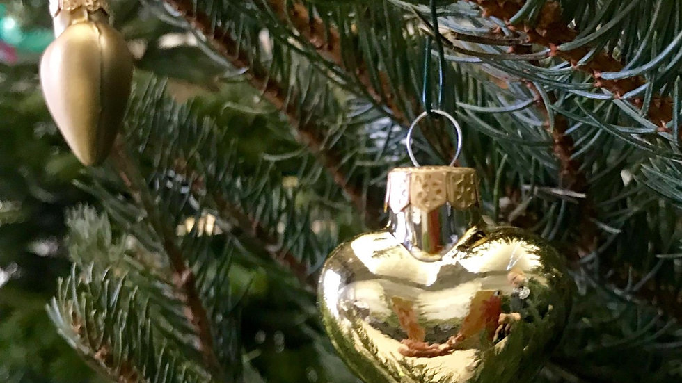 Gold Heart Shaped Glass Baubles