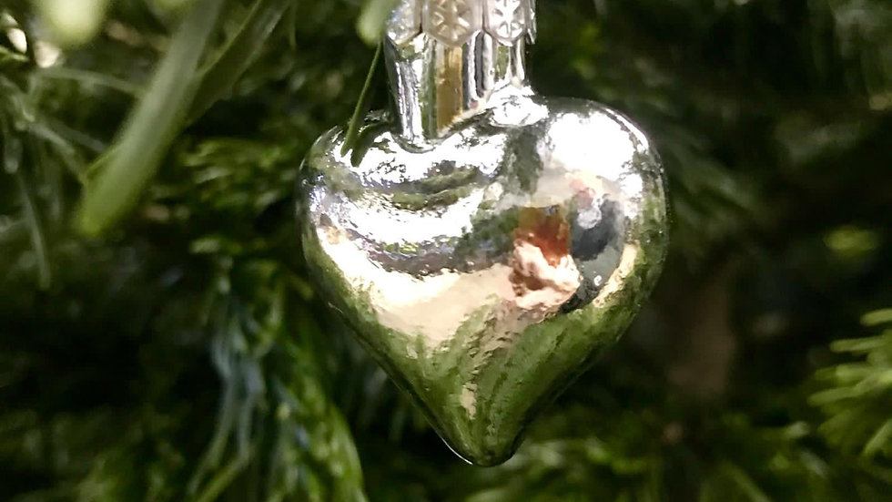 Silver Heart Shaped Glass Baubles
