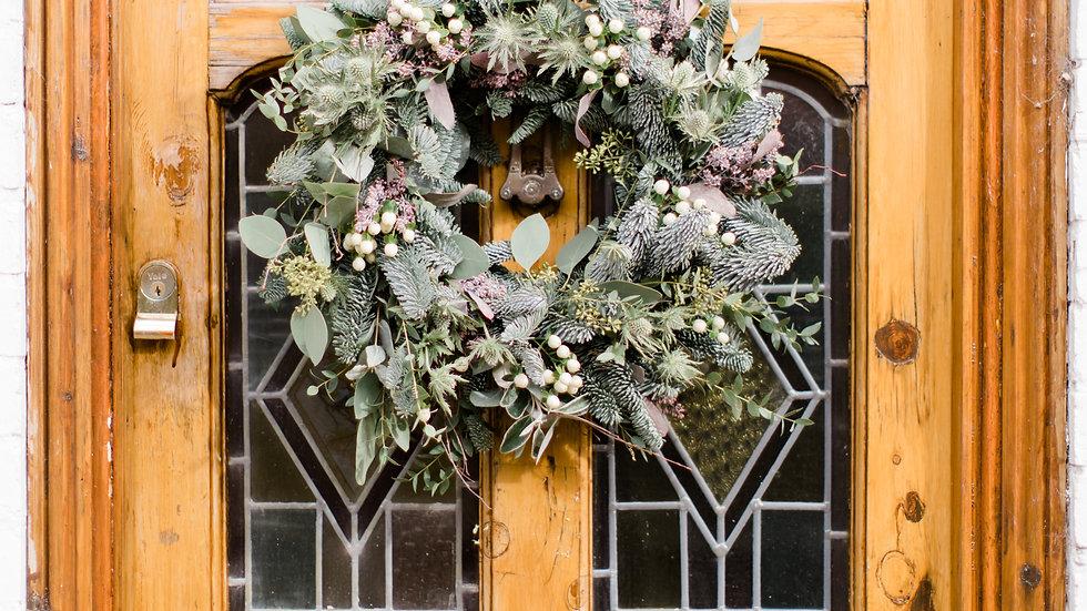 Silent Night Traditional Moss Door Wreath