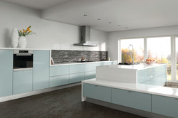 Metallic Blue Kitchen