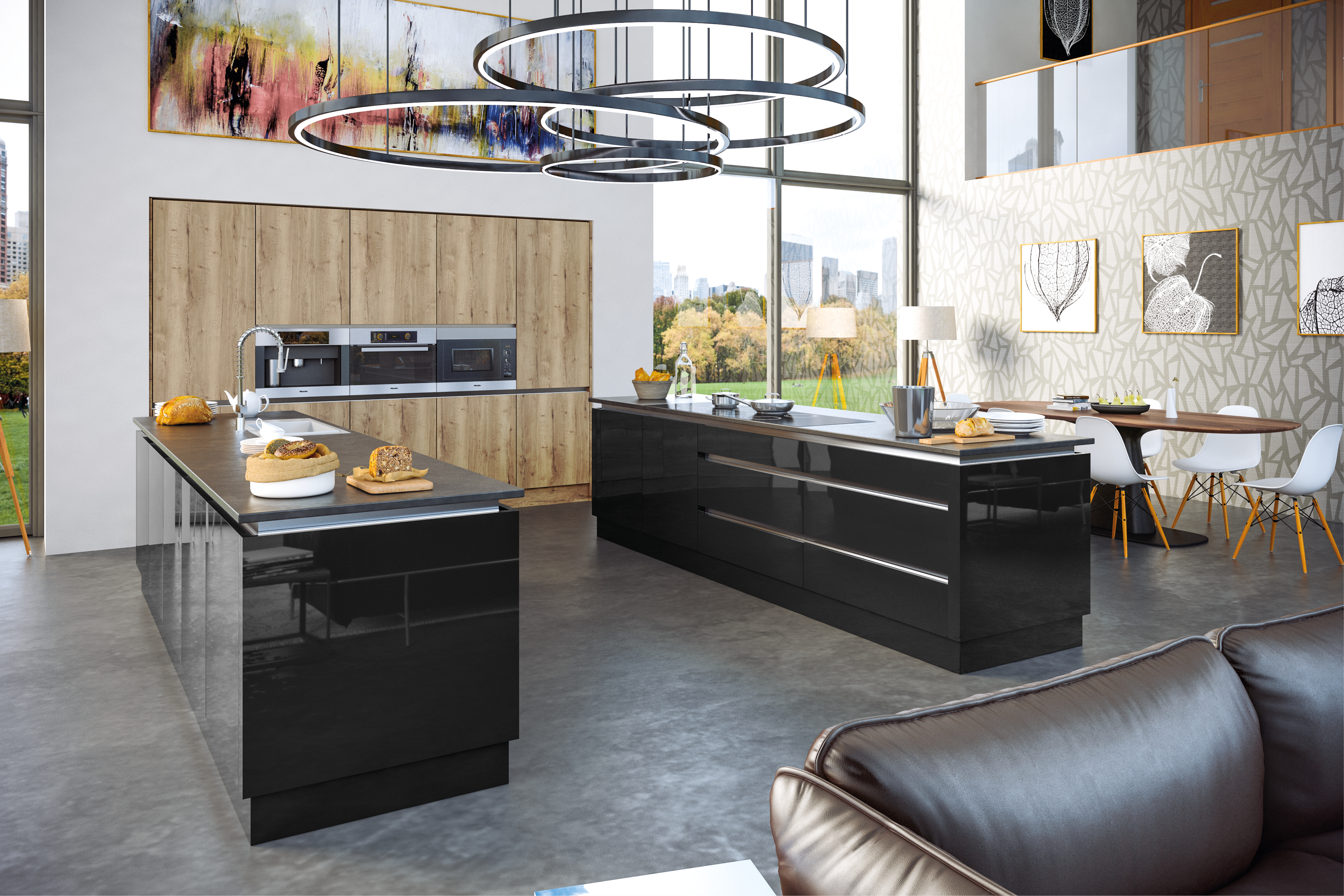 Halifax Natural Oak Ultragloss Black Kitchen