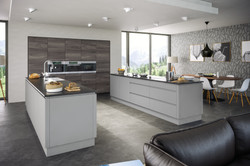 Rothwell Supermatt Light Grey Malton Lava Elm Kitchen