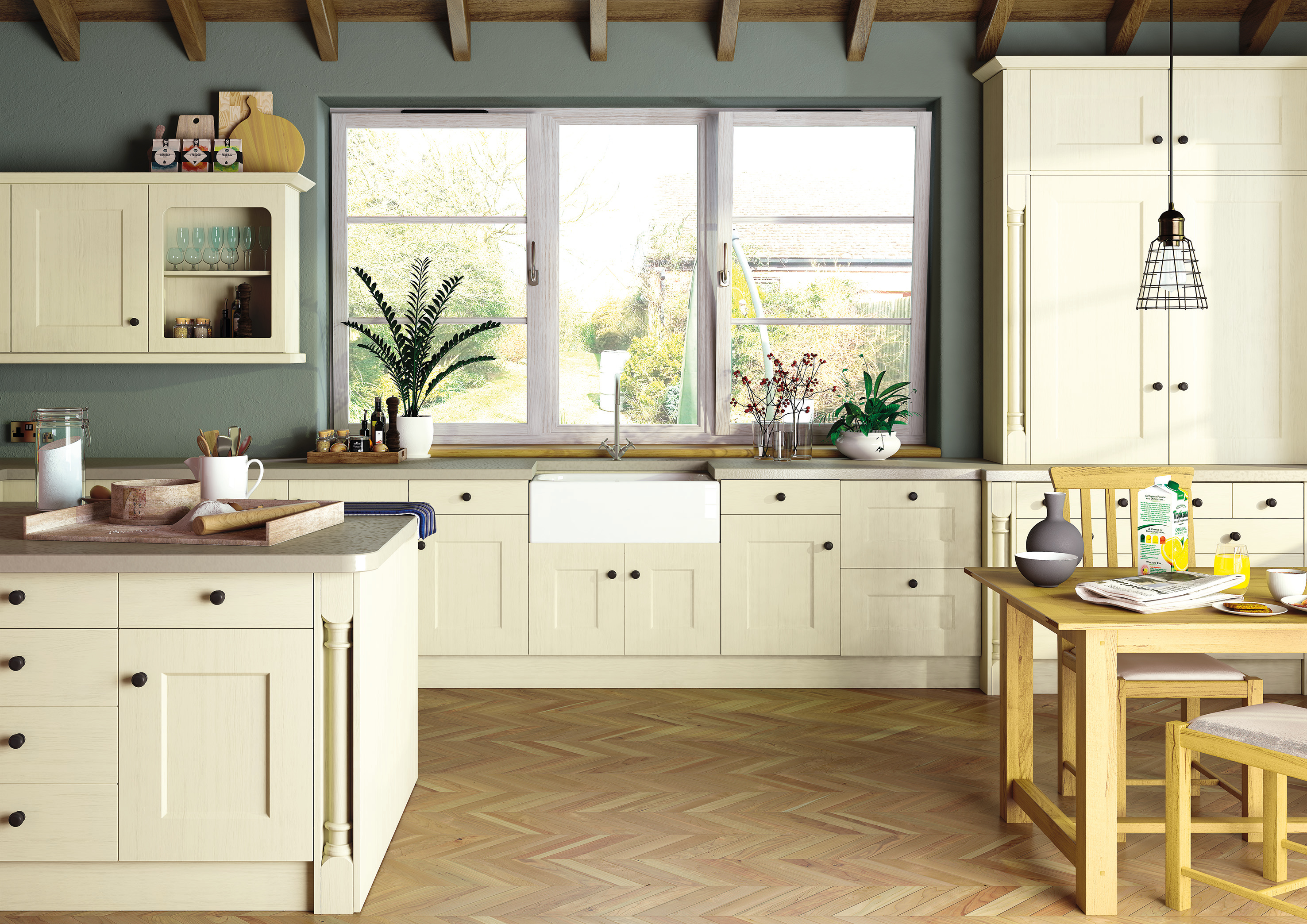 Oakgrain Cream Cambridge2 Kitchen