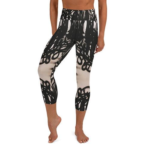 Flat Black Yoga Capri Leggings