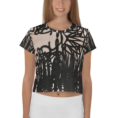 """FLAT BLACK""  All-Over Print Crop Tee"