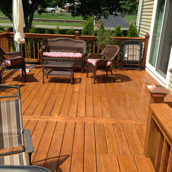 Treated deck with furniture