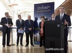 Podium with Mayor Garcetti