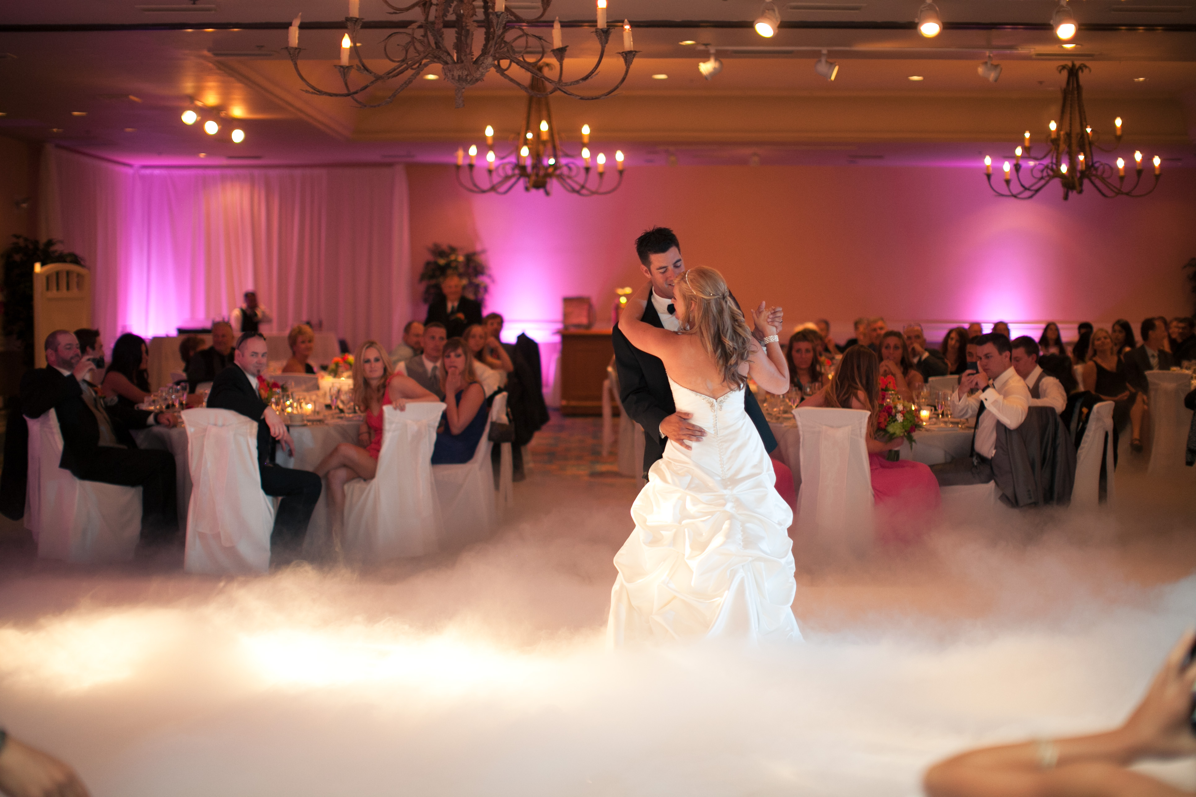 Leann & Matt first dance in clouds