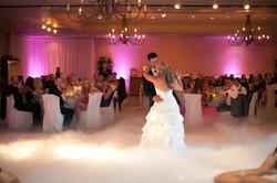 Leann & Matt first dance in clouds