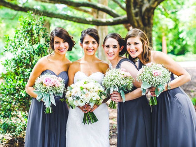 The look of you and your ladies on your wedding day is important, consider coordinating your dresses