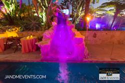 Pool slide with purple lights J&M events pirate theme