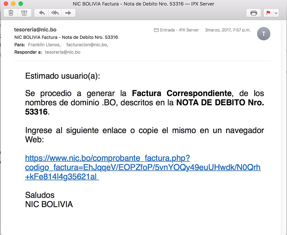Factura Electronica NIC Bolivia