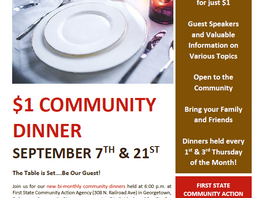 NEW!  Bi-monthly Community Dinners at First State