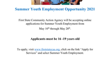 Summer Youth Employment Applications Accepted NOW thru May 20th!