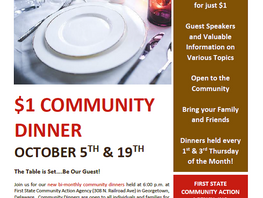 October Community Dinners at First State